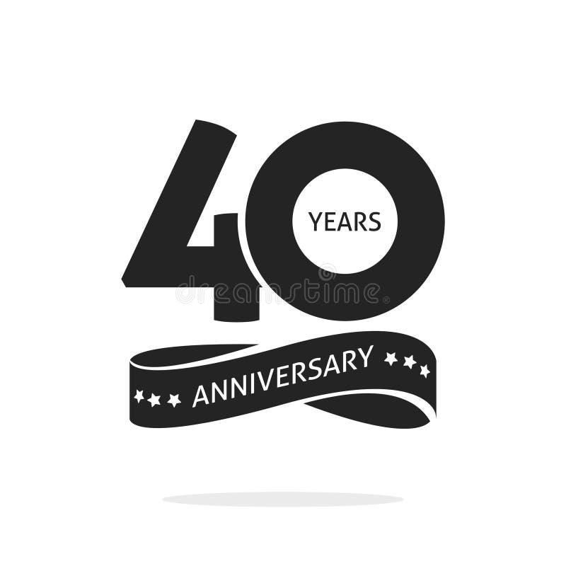 40 años del aniversario de plantilla del logotipo aislada, negra y stock de ilustración