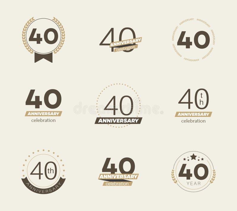 40 años del aniversario de sistema del logotipo 40.os iconos del aniversario libre illustration