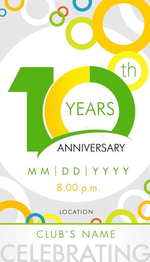 10 años del aniversario de tarjeta de la invitación, concepto de la plantilla de la celebración libre illustration