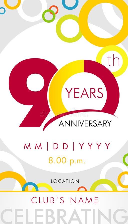 90 años del aniversario de tarjeta de la invitación, concepto de la plantilla de la celebración ilustración del vector