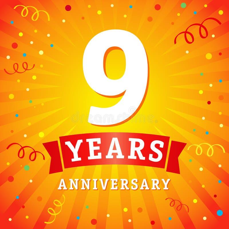 9 años del aniversario del logotipo de tarjeta de la celebración libre illustration