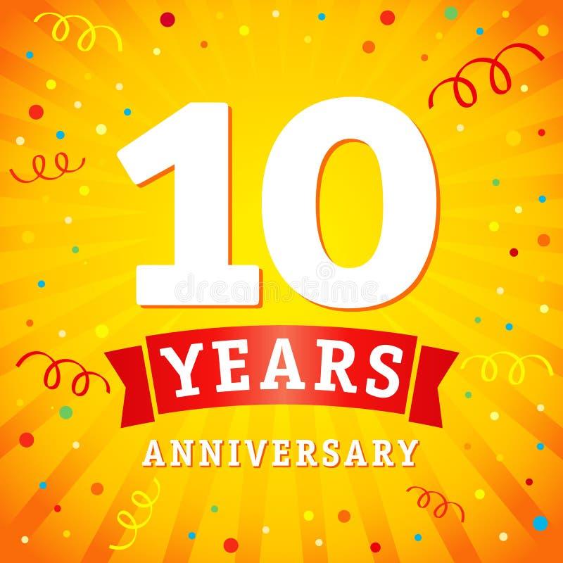 10 años del aniversario del logotipo de tarjeta de la celebración ilustración del vector