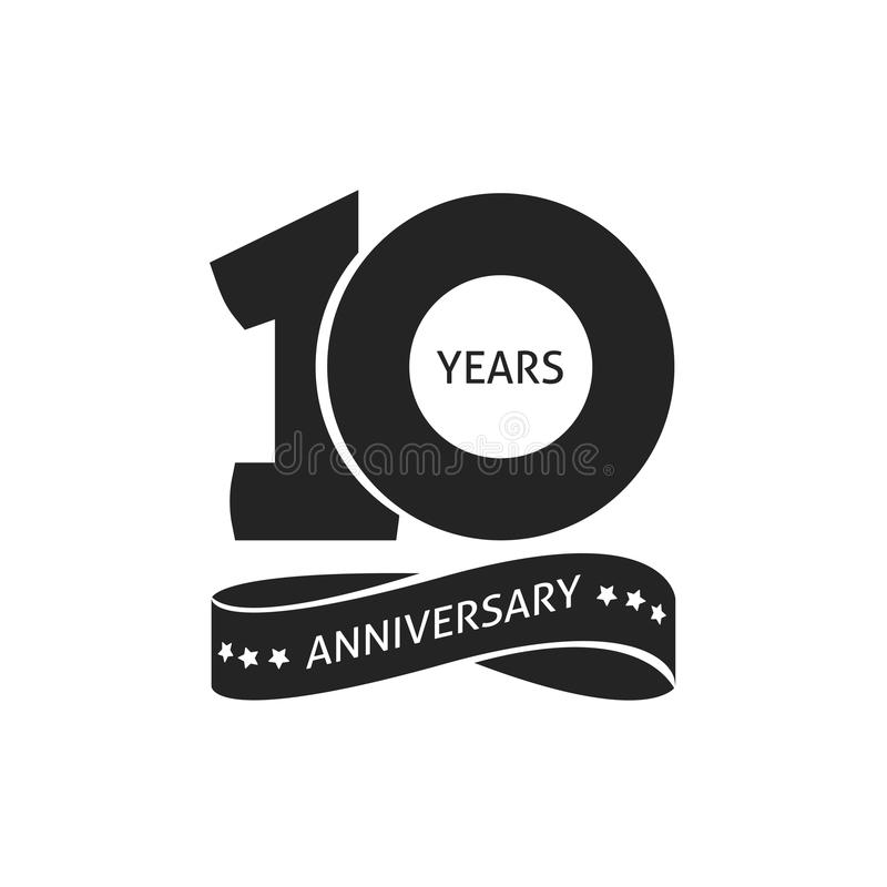 10 años del aniversario del pictograma de icono del vector, 10ma etiqueta del logotipo del cumpleaños del año stock de ilustración