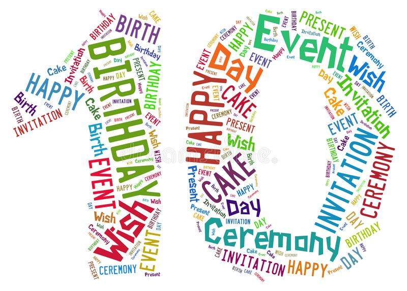 10 años del cumpleaños de nube de la palabra fotografía de archivo libre de regalías