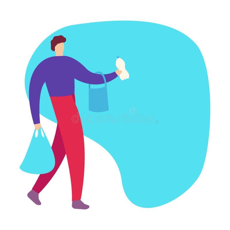 30 años del hombre joven con las bolsas de papel en manos que camina en la calle que hace compras y que busca la tienda calificad libre illustration