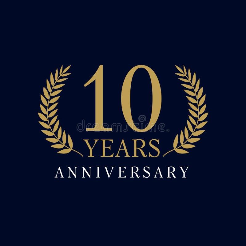 10 años del logotipo lujoso stock de ilustración