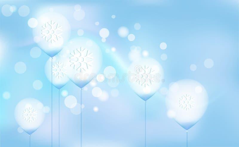 Años Nuevos, bokeh caótico de la falta de definición de la Navidad de globos ligeros en azul del fondo Copos de nieve Ejemplo del libre illustration