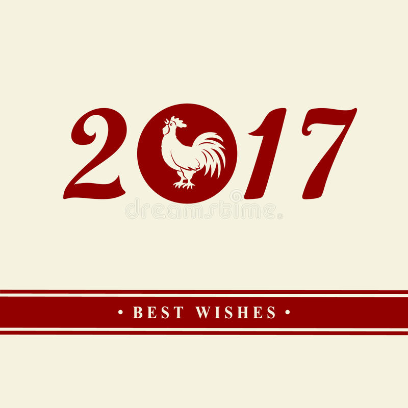 2017 Años Nuevos chinos del gallo Silueta del gallo rojo El símbolo del zodiaco Elementos para la tarjeta y la invitación de feli stock de ilustración