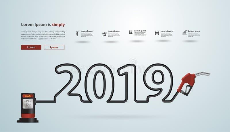 2019 Años Nuevos con diseño creativo de la boca de la bomba de gasolina ilustración del vector