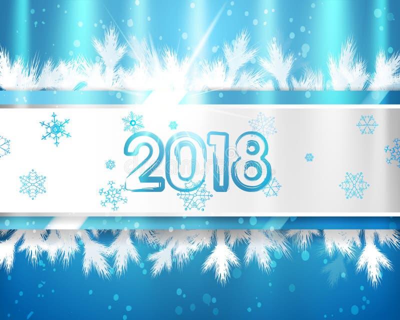 2018 Años Nuevos con las ramas y los copos de nieve de árbol de navidad en fondo azul Ejemplo del EPS ilustración del vector