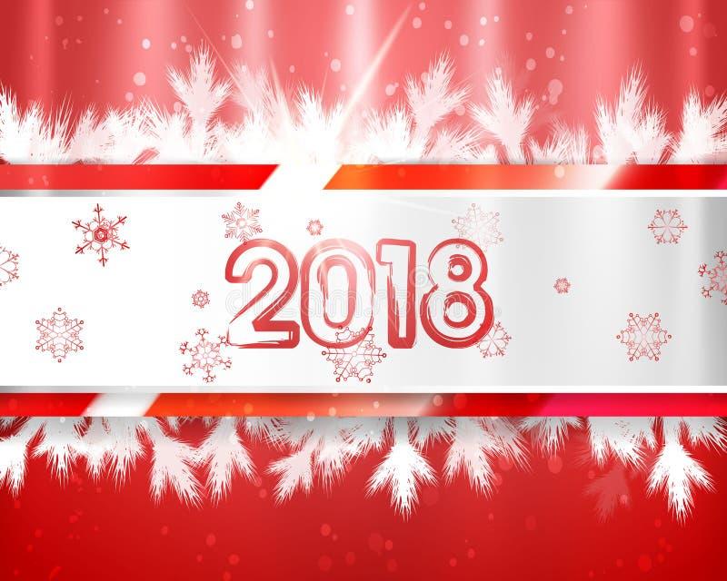 2018 Años Nuevos con las ramas y los copos de nieve de árbol de navidad en fondo rojo Ejemplo del EPS ilustración del vector