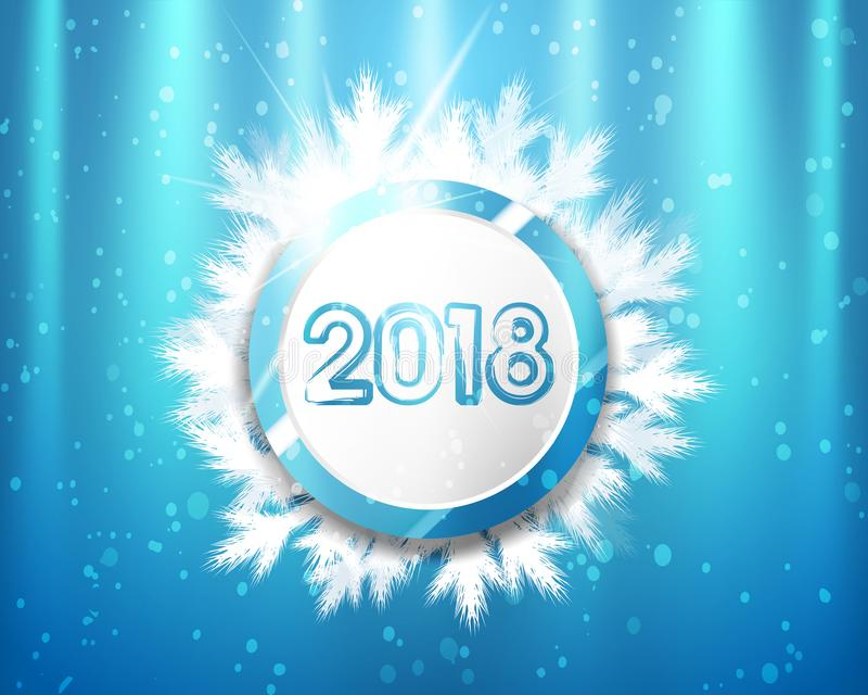 2018 Años Nuevos con los círculos y las ramas de árbol azules y blancos en fondo de la iluminación Ilustración del vector stock de ilustración
