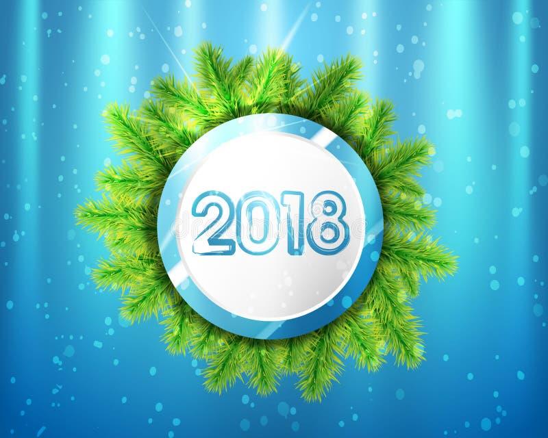2018 Años Nuevos con los círculos y las ramas de árbol azules y blancos en fondo de la iluminación Ilustración del vector libre illustration