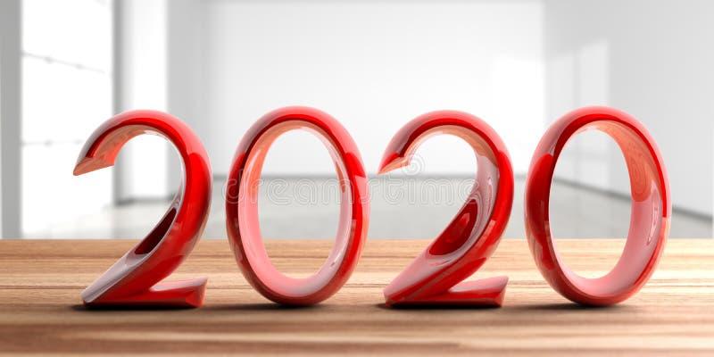 2020 Años Nuevos, dígitos rojos, en el escritorio de madera, empañan el fondo vacío del sitio ilustración 3D stock de ilustración