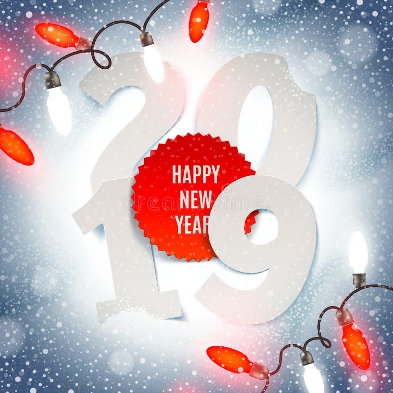 Años Nuevos de ejemplo 2019 - número de papel del año y guirnalda ligera del día de fiesta en una nieve ilustración del vector