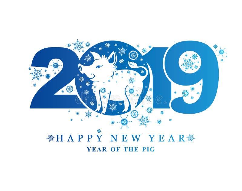 Años Nuevos de modelo 2019 y verraco y copos de nieve divertidos del cerdo libre illustration