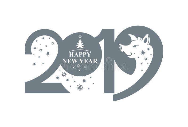 Años Nuevos de modelo 2019 y verraco y copos de nieve divertidos del cerdo ilustración del vector