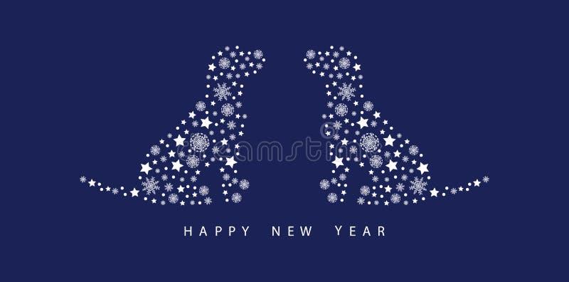 Años Nuevos de tarjeta de felicitación con los copos de nieve Perros en un fondo azul stock de ilustración