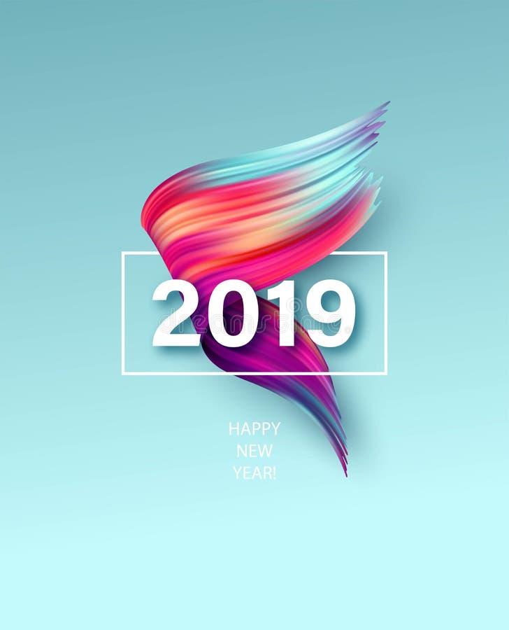 2019 Años Nuevos de un elemento colorido del diseño del aceite o de la pintura acrílica de la pincelada Ilustración del vector ilustración del vector