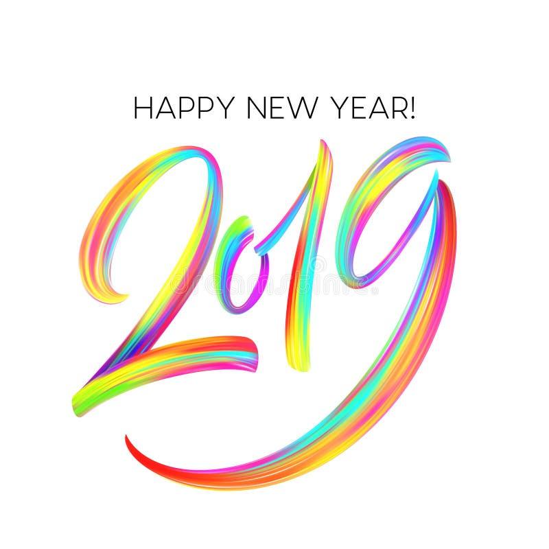 2019 Años Nuevos de un elemento colorido del diseño de la caligrafía de las letras del aceite o de la pintura acrílica de la pinc libre illustration