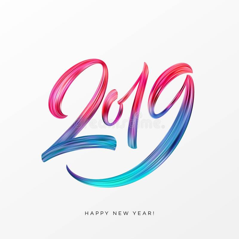2019 Años Nuevos de un elemento colorido del diseño de la caligrafía de las letras del aceite o de la pintura acrílica de la pinc stock de ilustración