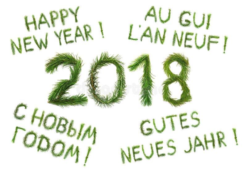 2018 Años Nuevos Dos mil dieciocho El ongratulation del ¡de Ð redacta Feliz Año Nuevo en inglés, ruso, francés y alemán fotos de archivo