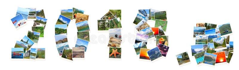 2018 Años Nuevos Dos mil dieciocho Los números se hacen de los paisajes de Canadá imagen de archivo