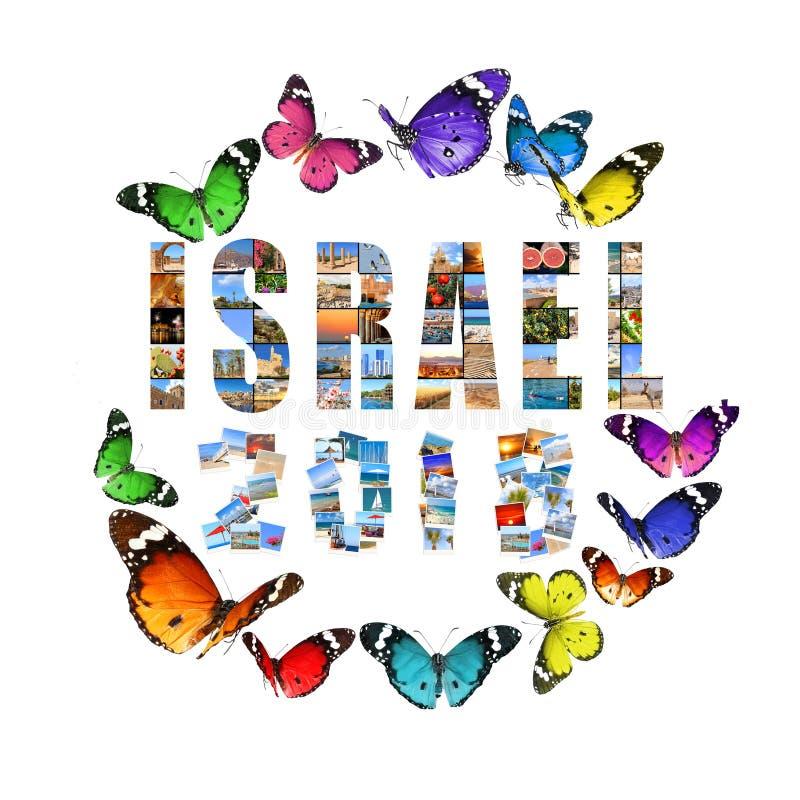2018 Años Nuevos Dos mil dieciocho Los números y la palabra Israel se hacen de paisajes mediterráneos Aislado en un backgroun bla fotos de archivo