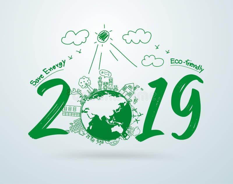 2019 Años Nuevos en el dibujo creativo ambiental y respetuoso del medio ambiente stock de ilustración