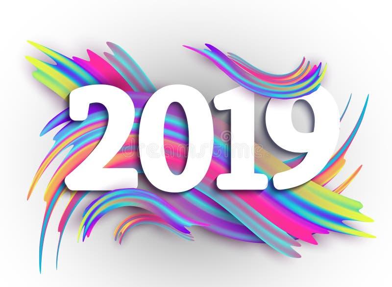 2019 Años Nuevos en el fondo de un aceite colorido de la pincelada o ilustración del vector