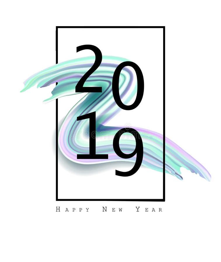2019 Años Nuevos en el fondo de un elemento colorido del diseño del aceite o de la pintura acrílica de la pincelada Ilustración E ilustración del vector