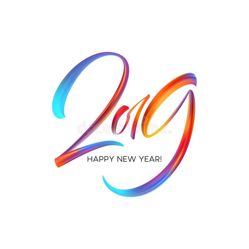 2019 Años Nuevos en el fondo de un elemento colorido del diseño del aceite o de la pintura acrílica de la pincelada Ilustración d libre illustration
