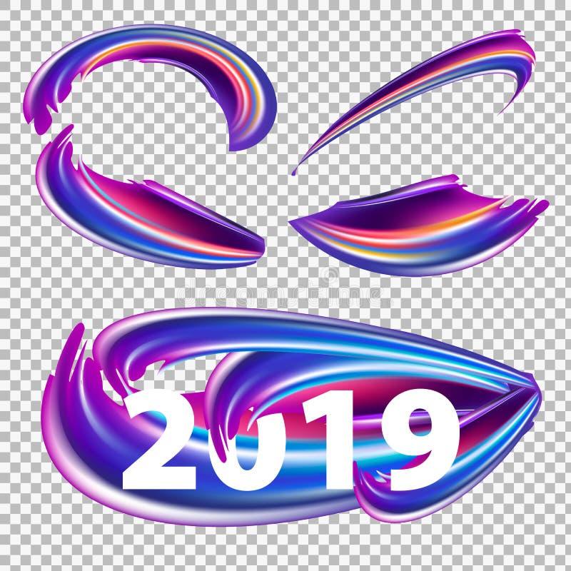 2019 Años Nuevos en el fondo de un elemento colorido del diseño del aceite o de la pintura acrílica de la pincelada en fondo tran ilustración del vector