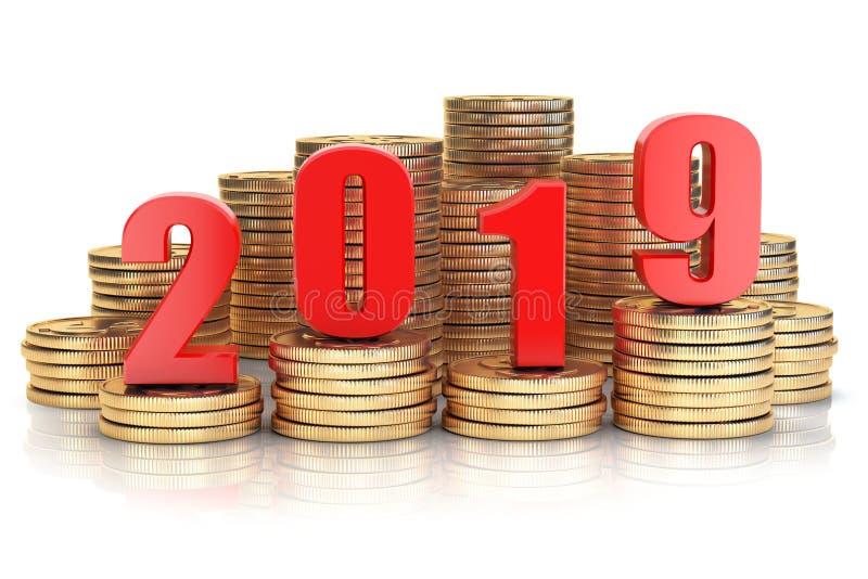 2019 Años Nuevos en pila de las monedas Éxito empresarial, prosperidad y w libre illustration