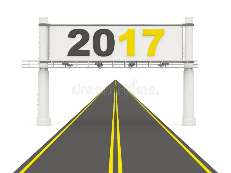 2017 Años Nuevos en señal de tráfico stock de ilustración