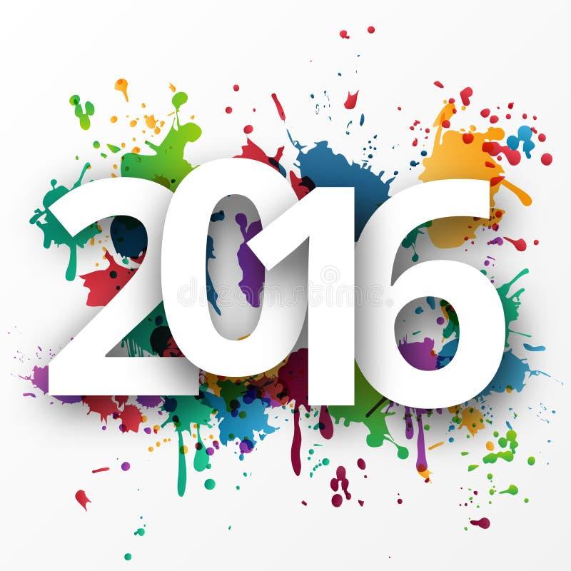 2015 Años Nuevos feliz con la pintura de espray stock de ilustración