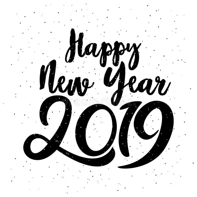 2019 Años Nuevos feliz Ejemplo del vector con poner letras a la etiqueta festiva del vintage del día de fiesta de la composición  libre illustration