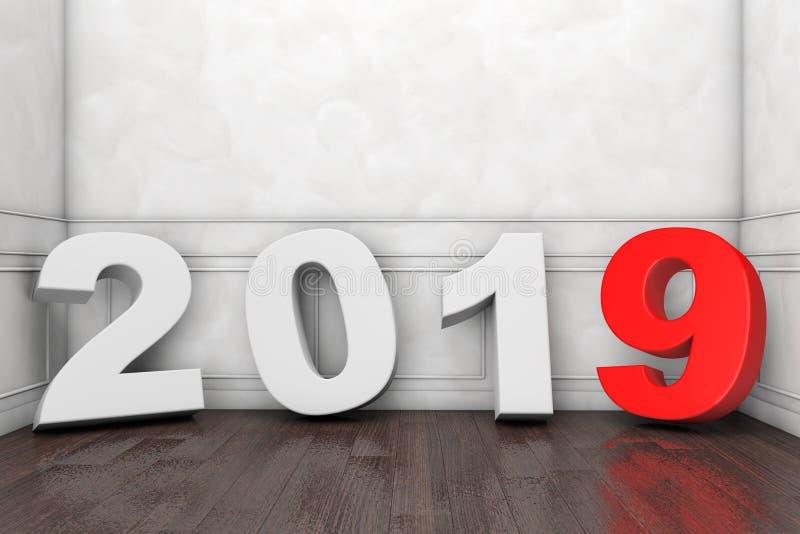2019 Años Nuevos firman adentro el sitio vacío representación 3d ilustración del vector