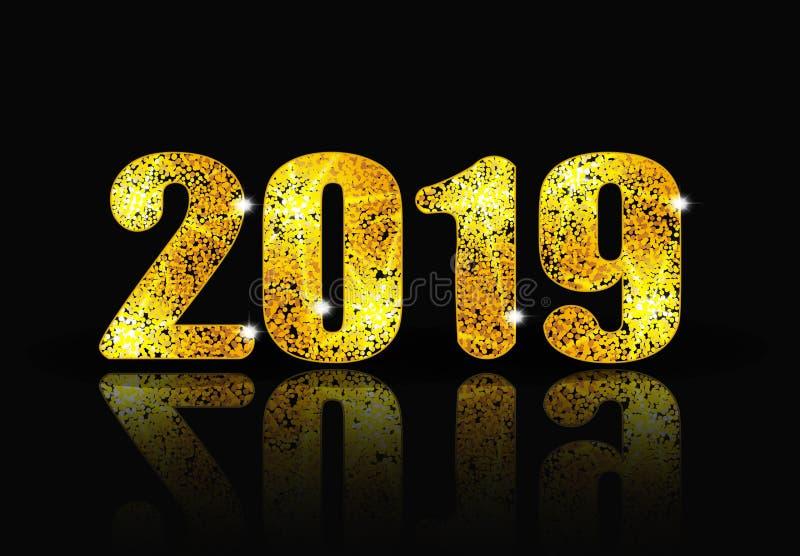 2019 Años Nuevos Inscripción brillante y su reflexión Ilustración libre illustration