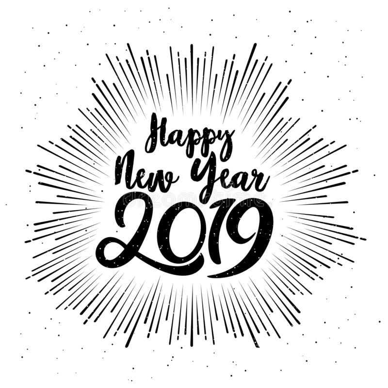 2019 Años Nuevos tipográfico feliz Ejemplo del vector con la composición de las letras Etiqueta festiva del vintage del día de fi stock de ilustración