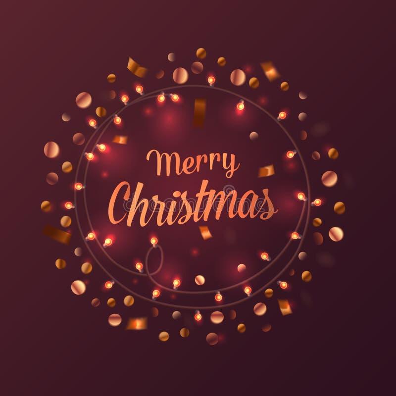 2017 Años Nuevos y postal de la Feliz Navidad con el ornamento de la chuchería del bokeh y de la decoración o del adorno de la gu ilustración del vector