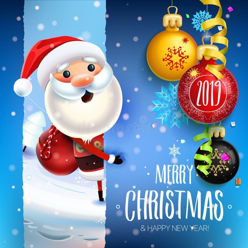 2019 Años Nuevos y símbolo de la Feliz Navidad libre illustration