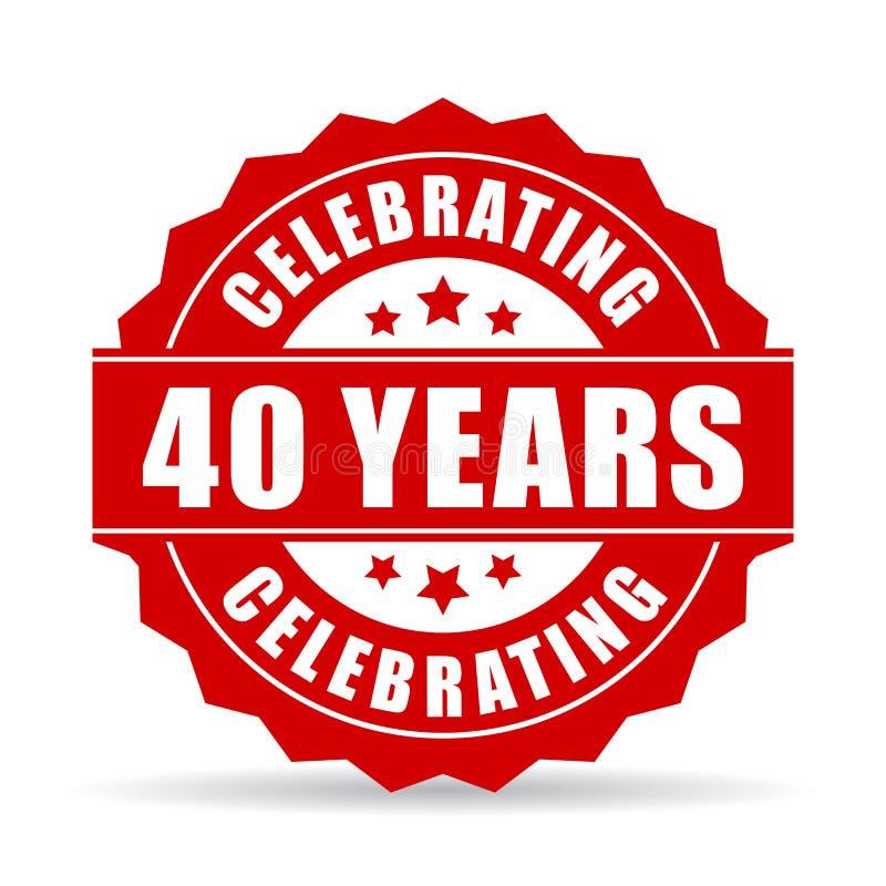 40 años que celebran el icono del vector ilustración del vector
