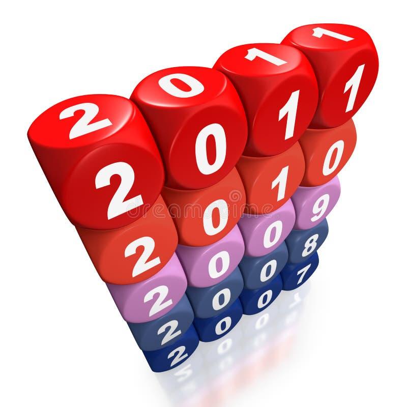 Años que pasan por la forma 2007 a 2011 ilustración del vector