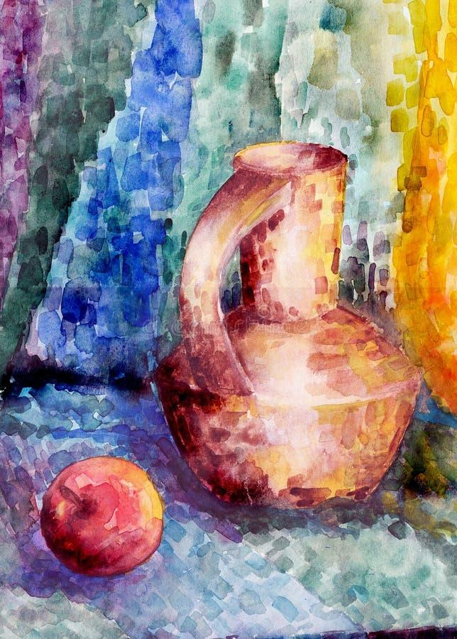 aún Jarro y manzana en un fondo colorido libre illustration