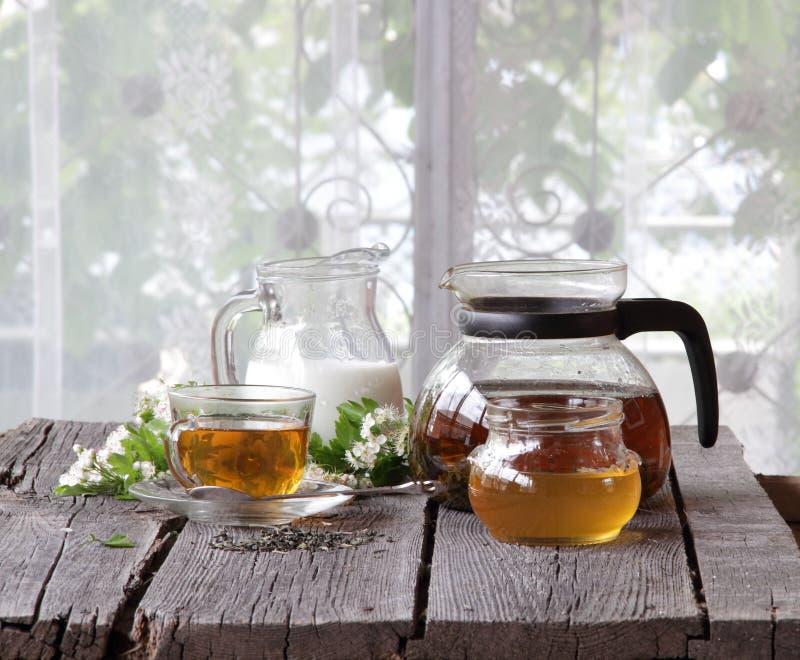 Aún-vida con té, leche y miel imágenes de archivo libres de regalías
