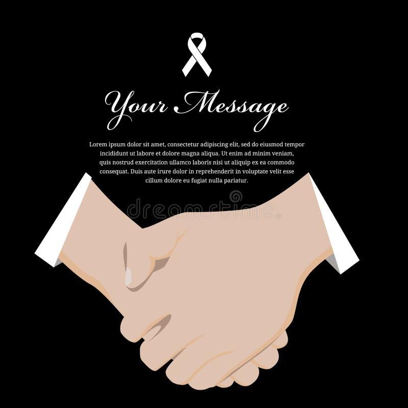 Żałobna żal etykieta z szacunek ręką i Biały faborek podpisujemy i umieszczamy dla teksta wektorowego projekta ilustracja wektor