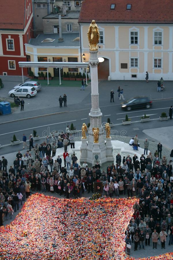 Żałobny msza dla Pope John Paul II w Zagreb, Chorwacja zdjęcia stock
