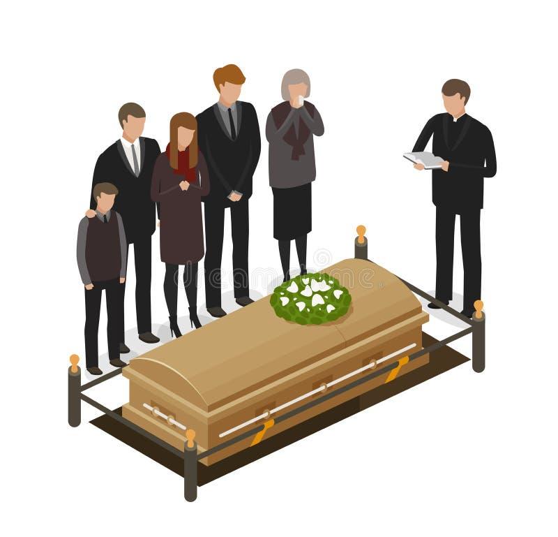 Żałobny rytuał, opłakuje pojęcie Pogrzeb, grób, ikona lub symbol, nieżywa, trumienna, obcy kreskówki kota ucieczek ilustraci dach ilustracja wektor