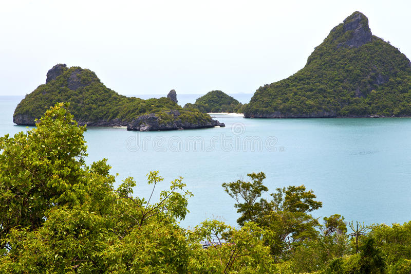 a和树南中国海泰国kho pha小船海岸线  免版税库存照片
